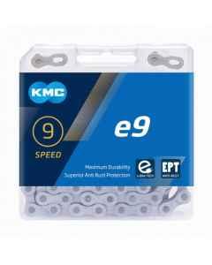 Kæde 9 speed KMC E9 EPT E-Bike  sølv 136 led - BE09TEP36 - allbike.dk