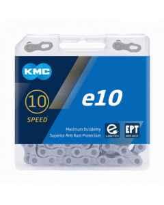 Kæde 10 speed KMC E10 EPT E-Bike  sølv 136 led - BE10TEP36 - allbike.dk