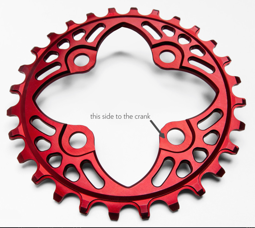 AbsoluteBlack Klinge Narrow/Wide BCD 064 - rød | chainrings_component