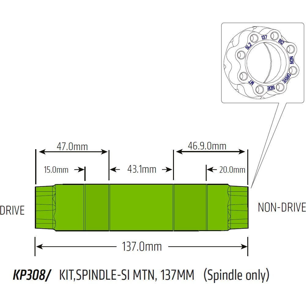 Cannondale krankaksel 137 mm MTB Si/SiSL2 - KP308 | Misc. Gears and Transmission