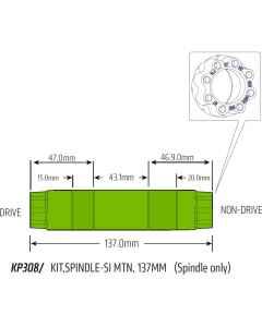 Cannondale krankaksel 137 mm MTB Si/SiSL2 - KP308