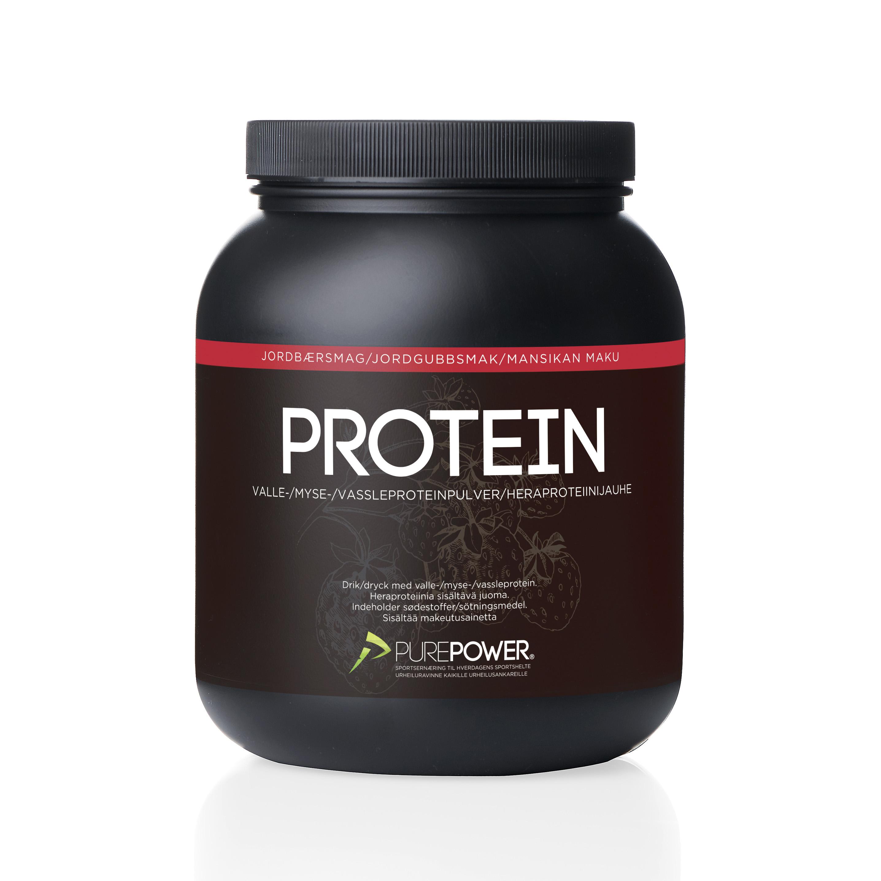 Purepower Proteinpulver - 1000g - Jordbær - 6941300   Proteinbar og -pulver