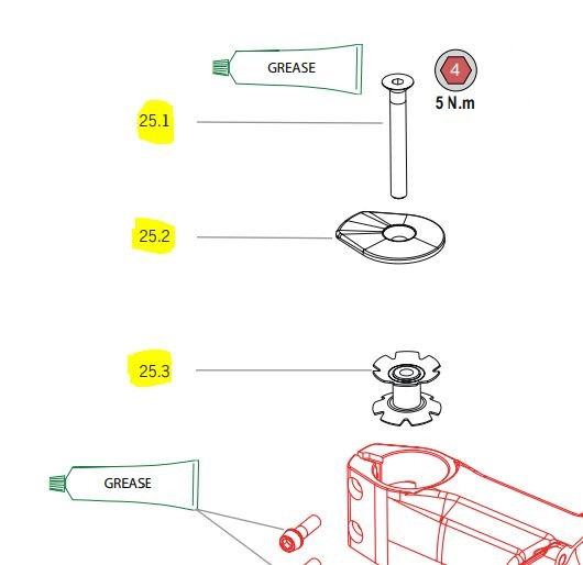 Orbea Oiz carbon mtb stem topcap kit | top cap