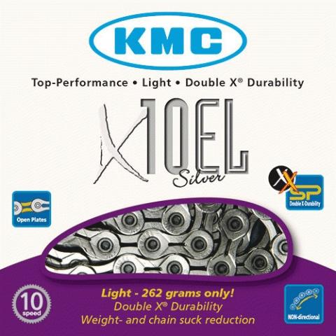 Kæde 10 speed KMC X-10-EL sølv 114 led - BXEL10N   Kæder